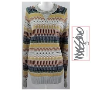 Multi Color Zigzag Striped Heavyweight Crewneck